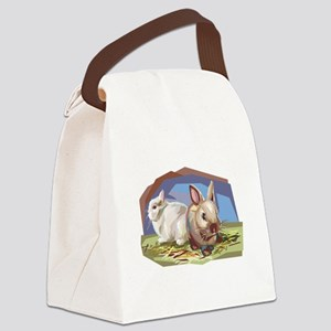 brown and white bunnies Canvas Lunch Bag