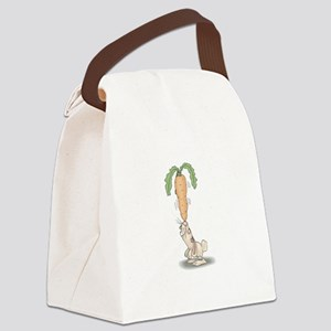 bunny balancing carrot copy Canvas Lunch Bag