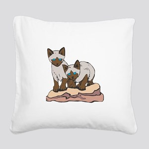 siamese kittens copy Square Canvas Pillow