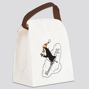 happy skiing penguin Canvas Lunch Bag