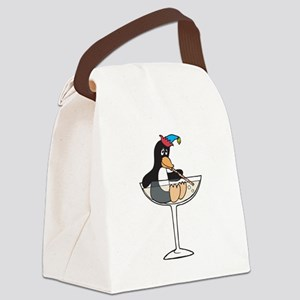 partying penguin Canvas Lunch Bag
