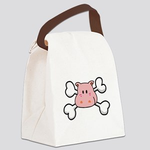 pink hippo Canvas Lunch Bag