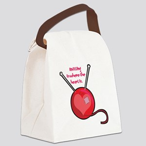knitting is where the heart Canvas Lunch Bag