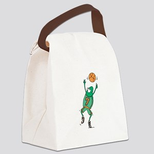 basketball frog copy Canvas Lunch Bag
