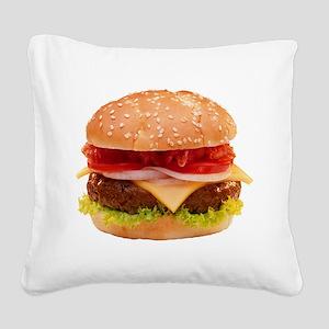 yummy cheeseburger photo Square Canvas Pillow