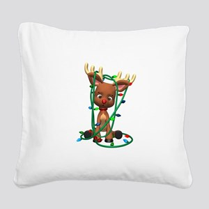 reindeer and lights copy Square Canvas Pillow