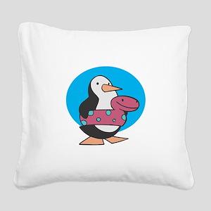 swimmy penguin copy Square Canvas Pillow