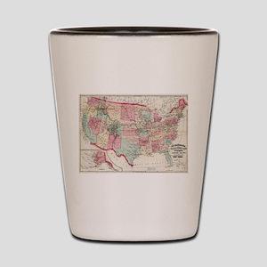 Vintage United States Map (1870) Shot Glass