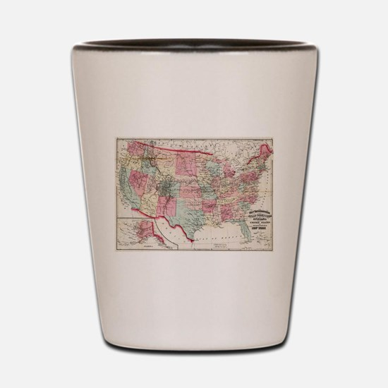 Vintage United States Map (1870) Shot Glass