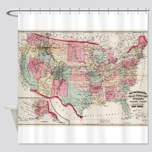 Vintage United States Map (1870) Shower Curtain