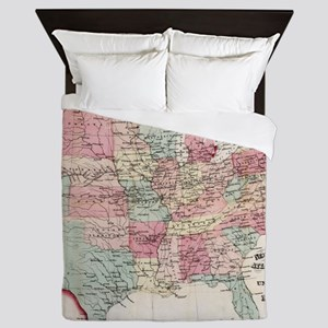 Vintage United States Map (1870) Queen Duvet
