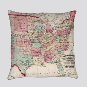 Vintage United States Map (1870) Everyday Pillow