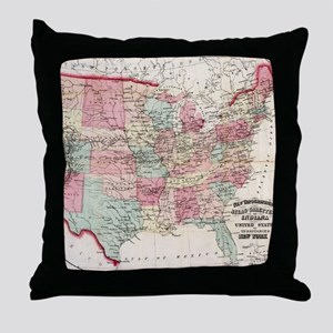 Vintage United States Map (1870) Throw Pillow