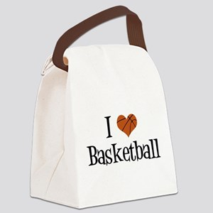 I Heart Basketball Canvas Lunch Bag