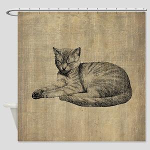 Cute Vintage Cat Shower Curtain