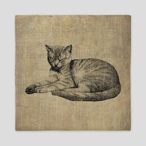 Cute Vintage Cat Queen Duvet