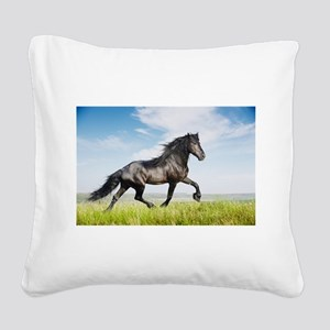 Black friesian horse Square Canvas Pillow