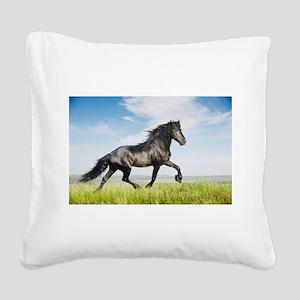 Black friesian horse Square Canvas Pillow