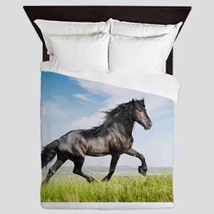 Black friesian horse Queen Duvet