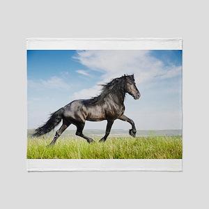 Black friesian horse Throw Blanket
