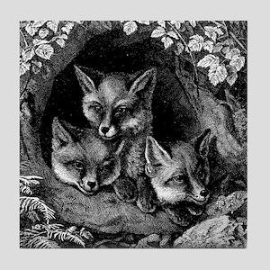 Vintage Foxes Tile Coaster