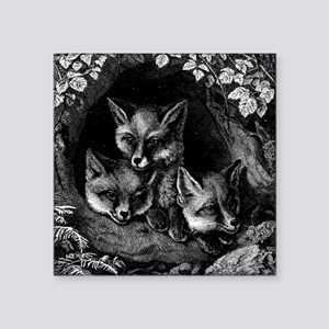 "Vintage Foxes Square Sticker 3"" x 3"""