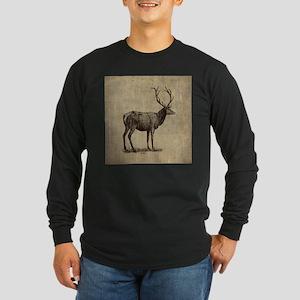 Vintage Antler Long Sleeve Dark T-Shirt