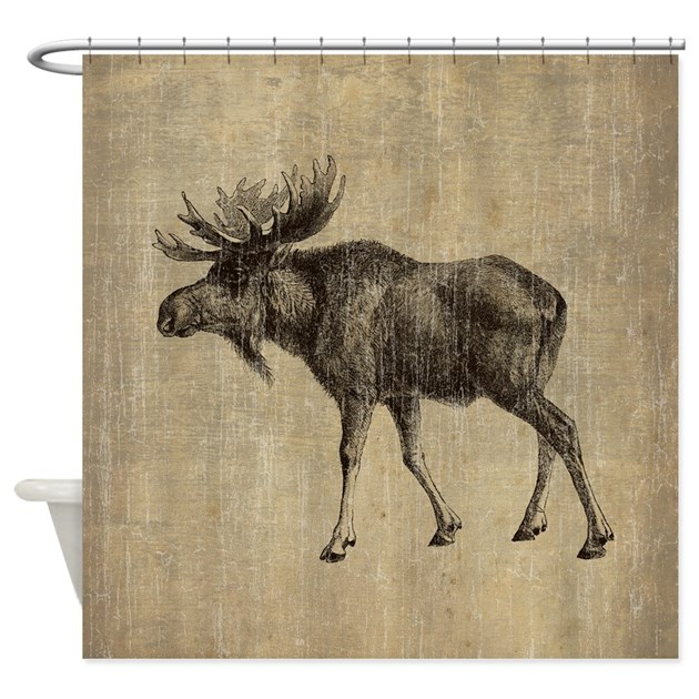 Vintage Moose Shower Curtain by esangha
