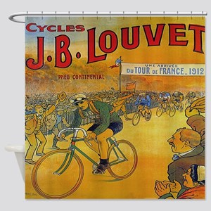 Vintage Tour de France Bicycle Shower Curtain