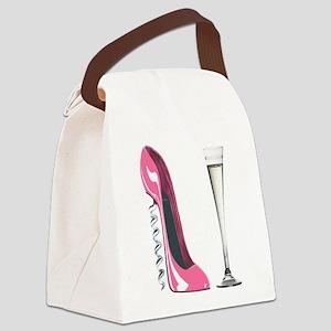 Pink Corkscrew Stiletto and Champagne Flute Canvas
