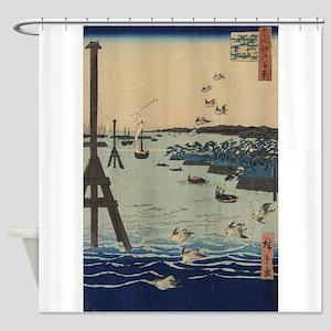 View of Shiba Coast - Hiroshige Ando - 1856 Shower