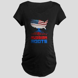 American Russian Roots Maternity Dark T-Shirt
