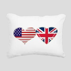 USA and UK Heart Flag Rectangular Canvas Pillow