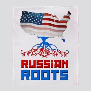 American Russian Roots Throw Blanket