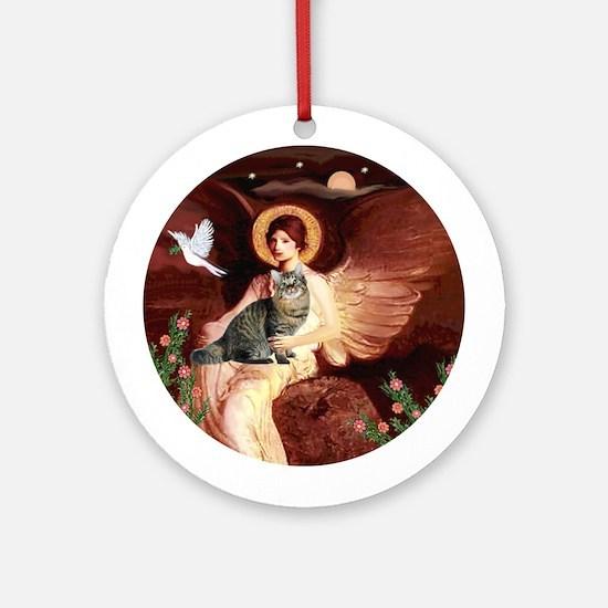 Angel1-Bobtail Tabby Cat Ornament (Round)