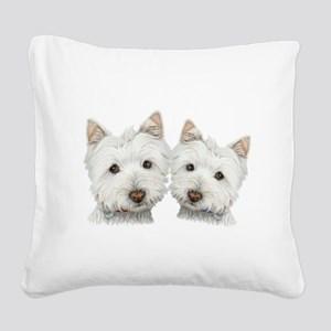 Two Cute West Highland White Dogs Square Canvas Pi