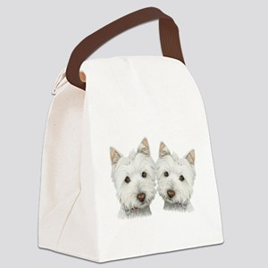 Two Cute West Highland White Dogs Canvas Lunch Bag