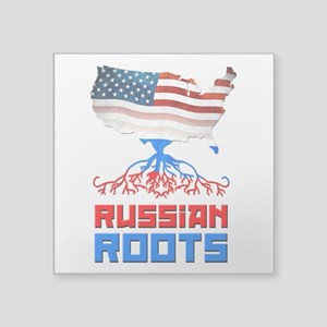 "American Russian Roots Square Sticker 3"" x 3&"
