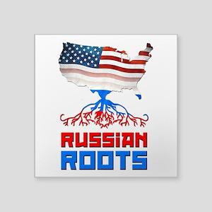 "American Russian Roots Square Sticker 3"" x 3&"