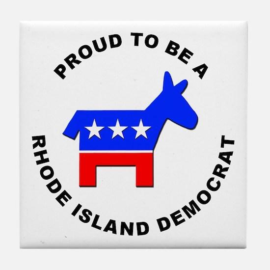 Rhode Island Democrat Pride Tile Coaster