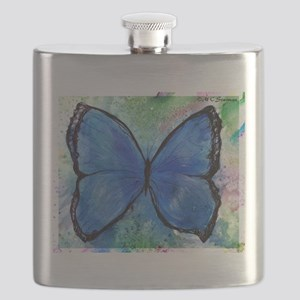 blue butterfly! colorful nature art! Flask