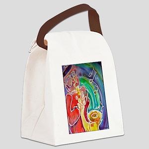 Music! Sax! Bright, fun art! Canvas Lunch Bag