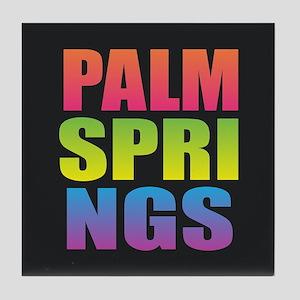 Palm Springs Black Rainbow Tile Coaster