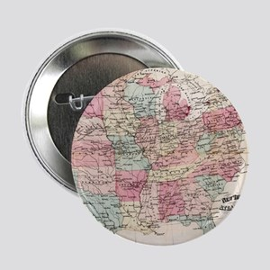 """Vintage United States Map (1870) 2.25"""" Button"""