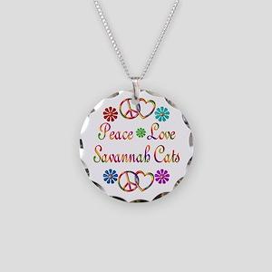 Savannah Cats Necklace Circle Charm
