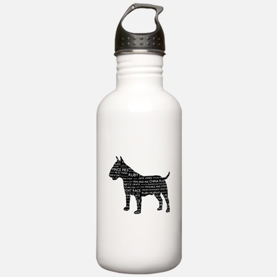 Vintage London Slang Bull Terrier Black Water Bottle