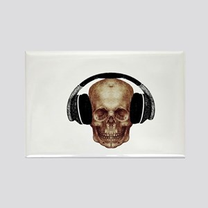 Vintage DJ Headphones Skull Rectangle Magnet