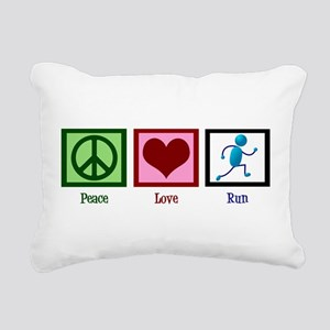 Peace Love Run Rectangular Canvas Pillow