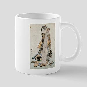 Young maiden holding a zither - Hokusai Katsushika