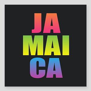 """Jamaica Black Rainbow Square Car Magnet 3"""" x 3"""""""
